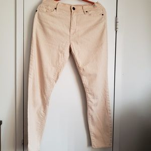 Ann Taylor orange and white Jeans.